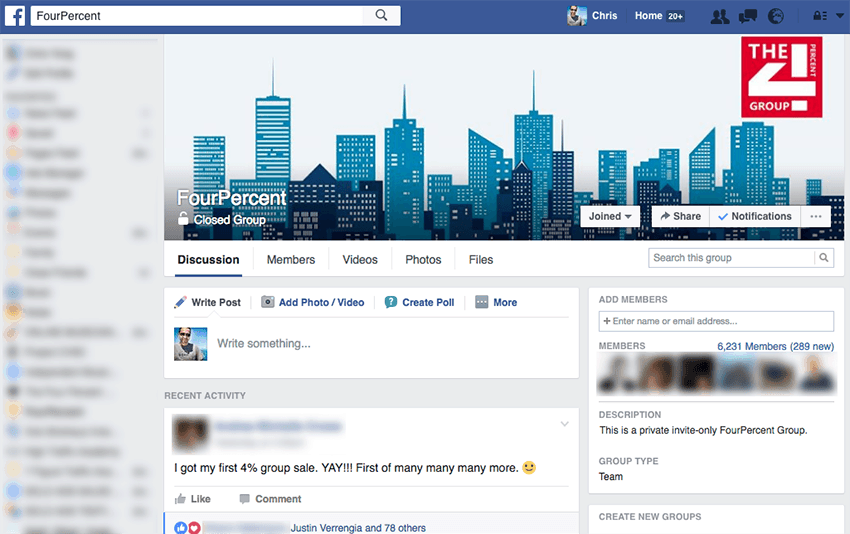 Four Percent private Facebook group